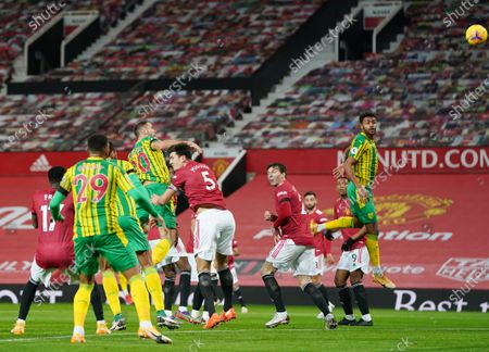 Branislav Ivanovic of West Bromwich Albion goes close with a header