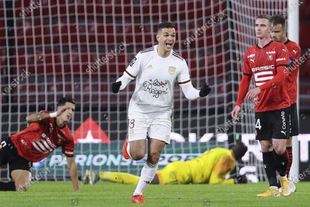 Bordeuax's Hatem Ben Arfa celebrates his goal against Rennes during the League One soccer match between Rennes and Bordeaux, at the Roazhon Park stadium in Rennes, France
