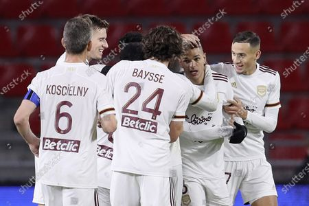 Bordeuax's Hatem Ben Arfa, second right, celebrates with his teammates his goal against Rennes during the League One soccer match between Rennes and Bordeaux, at the Roazhon Park stadium in Rennes, France