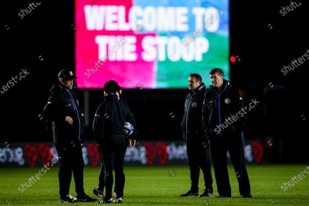 Exeter Chiefs director of rugby Rob Baxter and his coaching staff arrive at The Twickenham Stoop for the Gallagher Premiership fixture against Harlequins