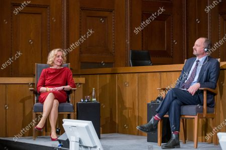 Stock Picture of Former Vice President of the European Court of Human Rights Angelika Nussberger (L) speaks at a panel discussion alongside Philippe Sands (R), author, lawyer and international law expert, during a ceremony marking the 75th anniversary of the Nuremberg trials at the Room 600 in the Nuremberg Palace of Justice in Nuremberg, Germany, 20 November 2020. On 20 November 1945 started The major World War II criminals trial, accused of war crimes, against peace and against humanity,  before the International Military Tribunal (IMT).