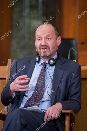 Philippe Sands, author, lawyer and expert in international law, speaks at a panel discussion during a ceremony marking the 75th anniversary of the Nuremberg trials at the Room 600 in the Nuremberg Palace of Justice in Nuremberg, Germany, 20 November 2020. On 20 November 1945 started The major World War II criminals trial, accused of war crimes, against peace and against humanity,  before the International Military Tribunal (IMT).