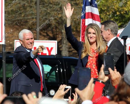 US Vice President Mike Pence participates in a Senate runoff election campaign rally with Georgia Republican US Senators David Perdue (R) and Kelly Loeffler at the Cherokee Conference Center at the Bluffs in Canton, Georgia, USA, 20 November 2020. Perdue faces Democrat Jon Ossoff and Loeffler faces Democrat Rafael Warnock in a 05 January 2021 runoff election.