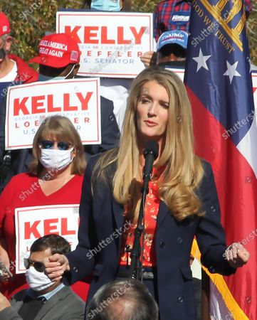 Stock Photo of US Senator Kelly Loeffler speaks as US Vice President Mike Pence (not pictured) participates in a Senate runoff election campaign rally with Georgia Republican US Senators David Perdue (not pictured) at the Cherokee Conference Center at the Bluffs in Canton, Georgia, USA, 20 November 2020. Perdue faces Democrat Jon Ossoff and Loeffler faces Democrat Rafael Warnock in a 05 January 2021 runoff election.