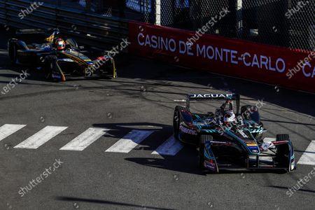 2016/2017 FIA Formula E Championship. Monte-Carlo, Monaco Saturday 13 May 2017.Adam Carroll (GBR), Jaguar Racing, Spark-Jaguar, Jaguar I-Type 1, leads Jean-Eric Vergne (FRA), Techeetah, Spark-Renault, Renault Z.E 16. Photo: Sam Bloxham/LAT/Formula E