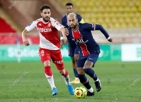 Cesc Fabregas (L) of AS Monaco and Neymar (R) of Paris Saint Germain in action during the French Ligue 1 soccer match, AS Monaco vs Paris Saint Germain, at Stade Louis II, in Monaco, 20 November 2020.