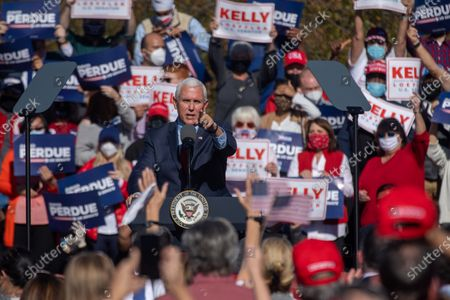 Vice President Mike Pence speaks at a campaign rally for Senators David Perdue and  Kelly Loeffler.