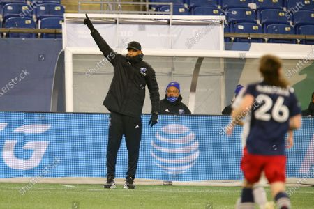 Montreal Impact coach Thierry Henry gestures during the first half of the team's MLS soccer match against the New England Revolution, in Foxborough, Mass