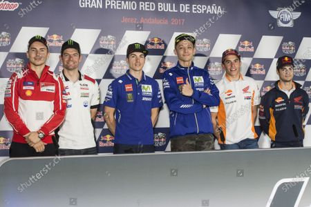 2017 MotoGP Championship - Round 4 Jerez, Spain Thursday 4 May 2017 Jorge Lorenzo, Ducati Team, Cal Crutchlow, Team LCR Honda, Maverick Vi?ales, Yamaha Factory Racing, Valentino Rossi, Yamaha Factory Racing, Giacomo Agostini, Angel Nieto, Marc Marquez, Repsol Honda Team, Dani Pedrosa, Repsol Honda Team World Copyright: Gold & Goose Photography/LAT Images