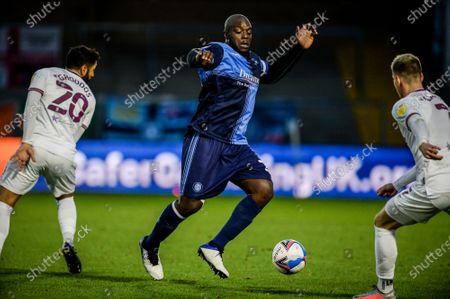 Adebayo Akinfenwa in action.; Adams Park Stadium, Wycombe, Buckinghamshire, England; English Football League Championship Football, Wycombe Wanderers versus Brentford.