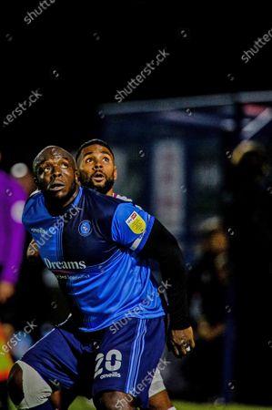 Adebayo Akinfenwa competes for a header.; Adams Park Stadium, Wycombe, Buckinghamshire, England; English Football League Championship Football, Wycombe Wanderers versus Brentford.