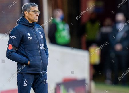 Chris Hughton of Nottingham Forrest watches from the sidelines as his team go 2-0 down; 21st November 2020, Oakwell Stadium, Barnsley, Yorkshire, England; English Football League Championship Football, Barnsley FC versus Nottingham Forest.