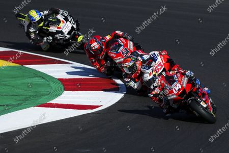 (L-R) Spanish rider Tito Rabat of Esponsorama Racing Team, Italian rider Danilo Petrucci of Ducati Team, Italian rider Francesco Bagnai of Pramac Racing Team and Italian rider Andrea Dovidioso of Ducati Team during the fourth training session for the Motorcycling Grand Prix of Portugal at Algarve International race track, Portugal, 21 November 2020. The Motorcycling Grand Prix of Portugal will take place on 22 November 2020.