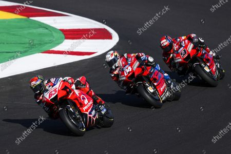 (L-R) Italian rider Francesco Bagnai of Pramac Racing Team, Italian rider Andrea Dovidioso of Ducati Team and Italian rider Danilo Petrucci of Ducati Team during the fourth training session for the Motorcycling Grand Prix of Portugal at Algarve International race track, Portugal, 21 November 2020. The Motorcycling Grand Prix of Portugal will take place on 22 November 2020.