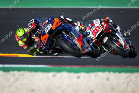 Portuguese rider Miguel Oliveira (C) of KTM Tech 3 Team, Japanese rider Takaaki Nakagami of LCR Honda Team and British rider Cal Crutchlow of LCR Honda Team during the third free training session of the Motorcycling Grand Prix of Portugal at Algarve International race track, Portugal, 21 November 2020. The Motorcycling Grand Prix of Portugal will take place on 22 November 2020.