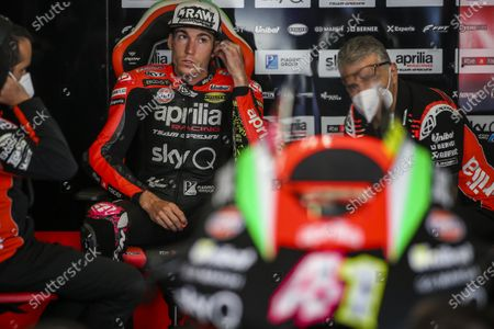 Spanish rider Aleix Espargaro of Aprilia Racing Team Gresini prepares for the third free training session of the Motorcycling Grand Prix of Portugal at Algarve International race track, Portugal, 21 November 2020. The Motorcycling Grand Prix of Portugal will take place on 22 November 2020.