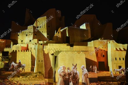 Photo taken on Nov. 20, 2020 shows a display of Saudi Arabian history being projected at a historic site in Diriyah, on the outskirts of Riyadh, Saudi Arabia. The 2020 G20 Summit will be held virtually on Nov. 21 - 22, chaired by Saudi King Salman bin Abdulaziz Al Saud.