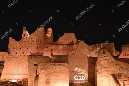 Photo taken on Nov. 20, 2020 shows the logo of Group of Twenty (G20) being projected at a historic site in Diriyah, on the outskirts of Riyadh, Saudi Arabia. The 2020 G20 Summit will be held virtually on Nov. 21 - 22, chaired by Saudi King Salman bin Abdulaziz Al Saud.