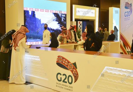 Photo taken on Nov. 19, 2020 shows the media center of the Group of Twenty (G20) in Riyadh, Saudi Arabia. The 2020 G20 Summit will be held virtually on Nov. 21 - 22, chaired by Saudi King Salman bin Abdulaziz Al Saud.