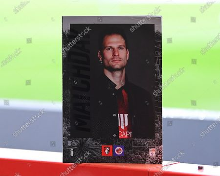 Asmir Begovic of AFC Bournemouth on the front of the match day programme during AFC Bournemouth vs Reading, Sky Bet EFL Championship Football at the Vitality Stadium on 21st November 2020