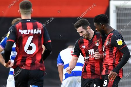 Stock Picture of Lewis Cook of AFC Bournemouth celebrates scoring the third goal with Jefferson Lerma of AFC Bournemouth during AFC Bournemouth vs Reading, Sky Bet EFL Championship Football at the Vitality Stadium on 21st November 2020