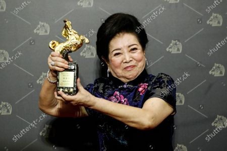 Taiwanese actress Chen Shu-fang poses her award for Best Supporting Actress at the 57th Golden Horse Awards ceremony in Taipei, Taiwan, 21 November 2020. The film awards established in 1962 are presented to filmmakers working in Chinese-language cinema.