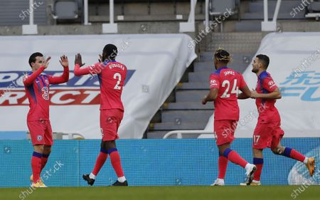 Antonio Ruediger (2R) of Chelsea celebrates with his teammates their goal the English Premier League soccer match between Newcastle United and Chelsea FC in Newcastle, Britain, 21 November 2020.