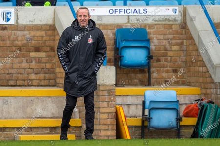 Stock Image of Charlton Athletic manager Lee Bowyer during the EFL Sky Bet League 1 match between Gillingham and Charlton Athletic at the MEMS Priestfield Stadium, Gillingham