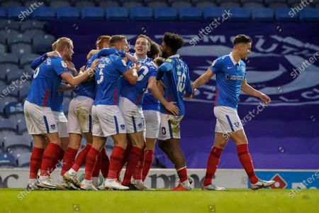Goal, Portsmouth 3-0 Crewe Alexandra, Tom Naylor of Portsmouth scores and celebrates during the EFL Sky Bet League 1 match between Portsmouth and Crewe Alexandra at Fratton Park, Portsmouth