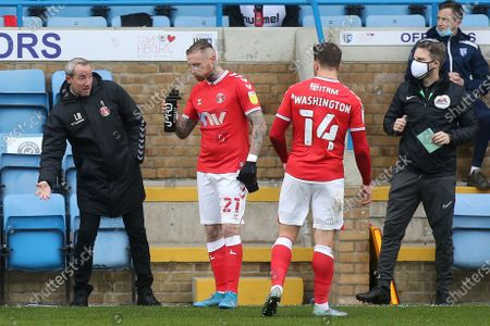 Stock Photo of Gillingham Manager, Lee Bowyer, speaks to Marcus Maddison and Conor Washington while there is a break in play during Gillingham vs Charlton Athletic, Sky Bet EFL League 1 Football at the MEMS Priestfield Stadium on 21st November 2020