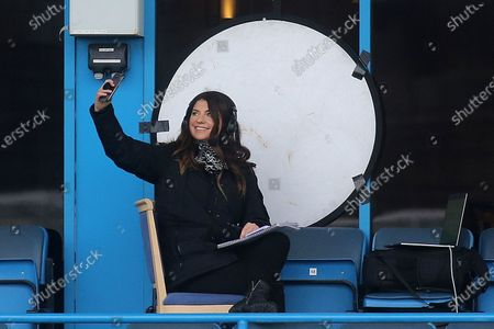Bianca Westwood from Sky TV takes a selfie ahead of working as a Soccer Saturday reporter during Gillingham vs Charlton Athletic, Sky Bet EFL League 1 Football at the MEMS Priestfield Stadium on 21st November 2020