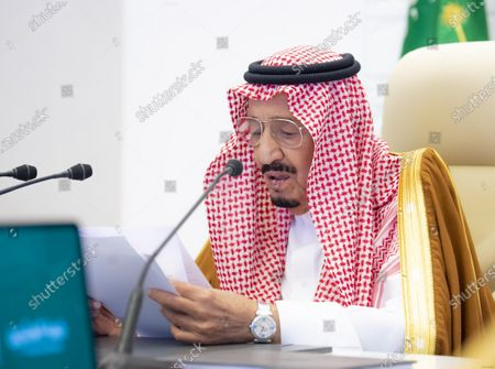 A handout photo made available by G20 Riyadh Summit shows Saudi Arabia's King Salman bin Abdulaziz Al Saud delivering opening remarks for the G20 Riyadh Summit, Riyadh, Saudi Arabia, 21 November 2020. The G20 Leaders' Summit will be held virtually on 21 and 22 November and is organized by Saudi Arabia's current G20 Presidency.