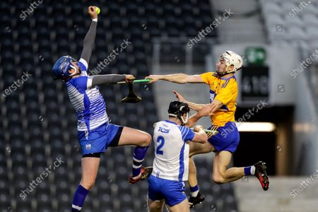 Waterford vs Clare. Waterford goalkeeper Stephen O'Keeffe and Ian Kenny with Ryan Taylor of Clare