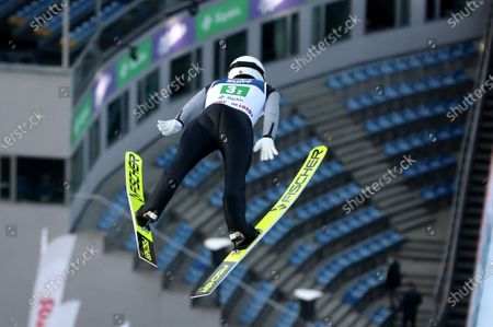 Simon Ammann of Switzerland in action during a trial round Men's Team competition for the FIS Ski Jumping World Cup at the Adam Malysz Ski Jump in Wisla, Poland, 21 November 2020.