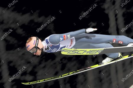 Stefan Kraft of Austria in action during the Men's Team competition at FIS the FIS Ski Jumping World Cup at the Adam Malysz Ski Jump in Wisla, Poland, 21 November 2020.
