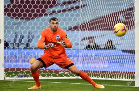 Goalkepeer Mathew Ryan of Brighton in action during the English Premier League soccer match between Aston Villa and Brighton Hove Albion in Birmingham, Britain, 21 November 2020.