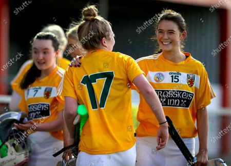 Stock Picture of Antrim vs Laois. Antrim's Christne Laverty celebrates with Nicole O'Neill after the game