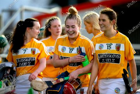 Antrim vs Laois. Antrim's Christne Laverty celebrates with Nicole O'Neill after the game