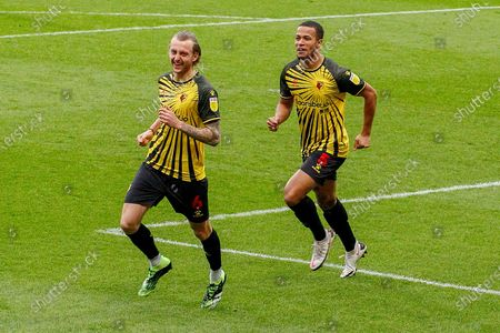 GOAL 0-1 Watford defender Ben Wilmot (6) scores and celebrates with Watford defender William Troost-Ekong (5) during the EFL Sky Bet Championship match between Queens Park Rangers and Watford at the Kiyan Prince Foundation Stadium, London
