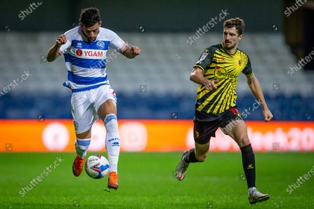 Queens Park Rangers forward Macauley Bonne (7) controls the ball, Watford defender Craig Cathcart (15) during the EFL Sky Bet Championship match between Queens Park Rangers and Watford at the Kiyan Prince Foundation Stadium, London