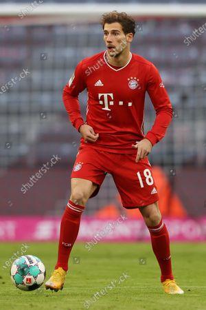 Stock Photo of Leon Goretzka of Bayern Munich runs with the ball during the German Bundesliga soccer match between FC Bayern Munich and SV Werder Bremen at Allianz Arena in Munich, Germany, 21 November 2020.