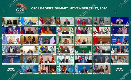 This handout photo provided by G20 Riyadh Summit, shows Saudi King Salman, center, and the rest of world leaders during a virtual G20 summit hosted by Saudi Arabia and held over video conference amid the Covid-19 pandemic, in Riyadh, Saudi Arabia