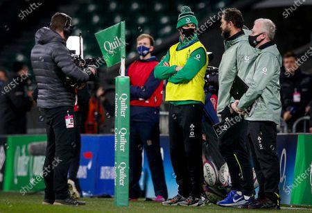 England vs Ireland. Ireland's Johnny Sexton as water boy with Ireland Head Coach Andy Farrell