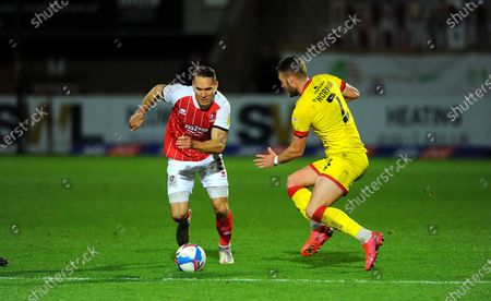 Chris Hussey of Cheltenham Town competes with Cameron Norman of Walsall- Mandatory by-line: Nizaam Jones/JMP