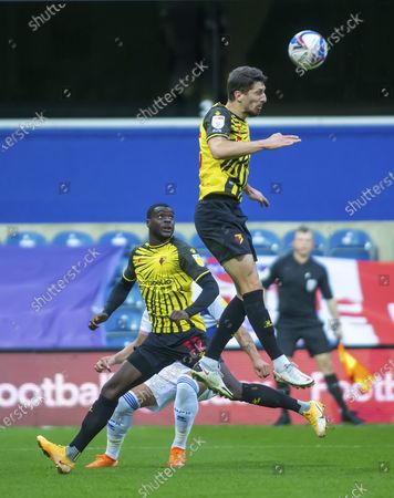 Craig Cathcart of Watford clears the ball with a header