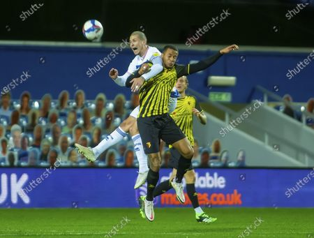 Lyndon Dykes of Queens Park Rangers and William Troost-Ekong  of Watford battle for a header