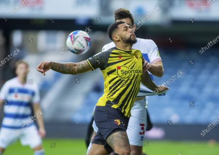 William Troost-Ekong  of Watford and Lee Wallace of Queens Park Rangers challenge for the ball