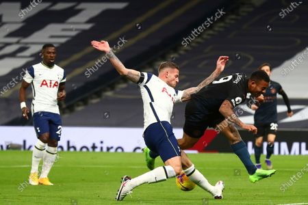 Stock Photo of Manchester City's Gabriel Jesus, right, is challenged by Tottenham's Toby Alderweireld during the English Premier League soccer match between Tottenham Hotspur and Manchester City at Tottenham Hotspur Stadium in London, England