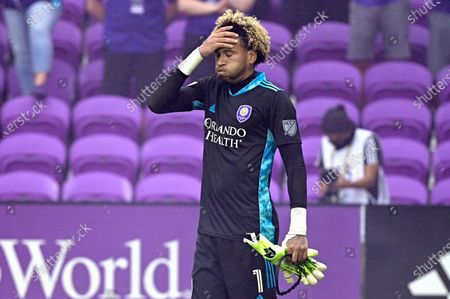 Stock Picture of Orlando City goalkeeper Pedro Gallese (1) reacts after receiving a red card, and getting ejected during the penalty kicks period of overtime of an MLS soccer playoff match against the New York City FC, in Orlando, Fla