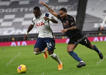 Stock Photo of Serge Aurier (L) of Tottenham in action against Raheem Sterling (R) of Manchester City during the English Premier League soccer match between Tottenham Hotspur and Manchester City in London, Britain, 21 November 2020.